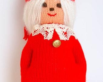 Norwegian Hand Knitted Christmas Elf - Norway Girl Nisse Jul - Scandinavian Handicraft - Made in Norway