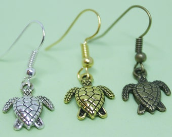 Turtle Earrings || In bronze-, silver-, and gold-tones // Cute small turtle earrings, beach earrings, summer earrings, quirky, kitsch