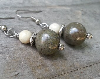 Memorial Bead Earrings - Custom Keepsake Stoneware Pottery Pet Cremains Jewelry - TWISTED REEF Drop Earrings
