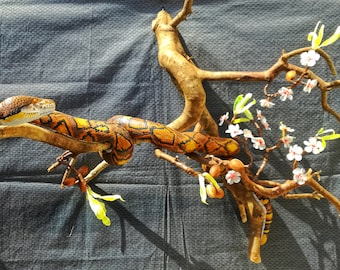 Reticulated python,snake wood on almond branch,almond flower,realistic snake lover gift,woodcarving gift,artwork hanger