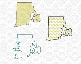 Rhode Island Home Outline Chevron Hearts Monogram SVG DXF Ai Eps PNG Scalable Vector Instant Download Commercial Cut File Cricut Silhouette