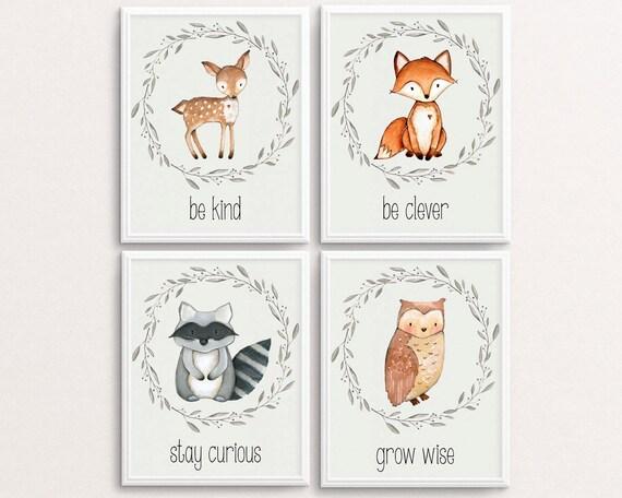 Woodland Nursery Set Deer Poster Fox Print Owl Printable