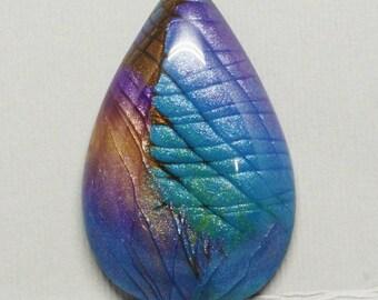 Faux Labradorite Teardrop Cabochon, Purple, Blue, Green and Brown