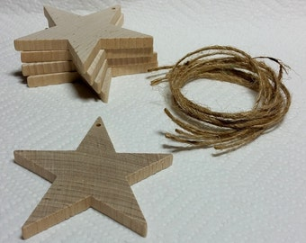 """Wooden Star Ornaments, set of 5, Unfinished, 2 7/8"""" tall,  DIY kit, holiday decoration, party favor"""