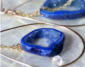 Druzy Earrings, Gold Hoop Earrings, Geode Earrings, Cobalt Blue Earrings, Colorful Jewelry, Drusy Earrings, Druzy Hoop Earrings