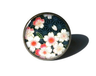 CHERRY BLOSSOM RING - Cherry Blossom Jewelry - Sakura Flower Ring - Floral Ring - Pink - Black
