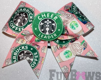 Awesome Starbucks Cheer Bow by FunBows ! 3-D center !