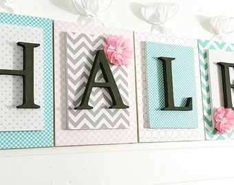 Nursery letters, Pink Gray Aqua Nursery, Personalized Letters, Girls Nursery Letters, Wooden Letters,Nursery Wall Letters,Customized Letters
