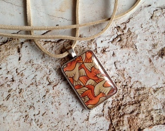 Necklace with art pendant. Escher.