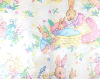 VTG pastel Bunny rabbit baby shower squirrel Gift Wrap wrapping paper folded 2