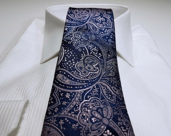 Silk Tie in Paisleys with Light Tickled Blush Pink and Midnight Navy Blue