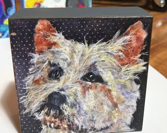 """Art Dog Collectible """"Chessie"""" Giclee Mini Block Print 4x4 Square Torn Paper Art by Robin Panzer Holiday Gift or Stocking Stuffer"""