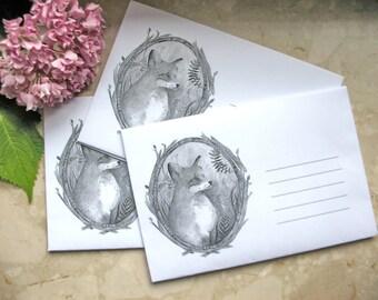 Fox envelopes / paper envelopes / handmade envelopes