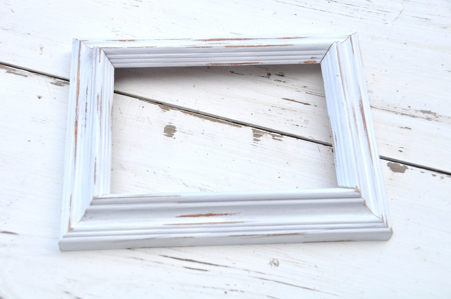 White Distressed 5 x 7 Wooden Open Frame- Gallery Wall -Shabby Decor ...