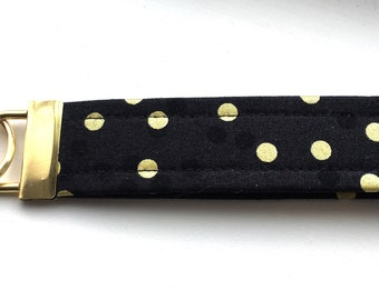 Ombré schwarz-goldene Punkte Schlüssel Kette Armband Schlüsselanhänger Gold Metallteilen einzigartige Armband Schlüsselanhänger Ombre Konfetti Stoff