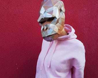 GORILLA MASK. Monkey, animal 3d papercraft mask. Low poly papercraft Printable DIY template (pdf) Mask for kids, adults, man and woman!