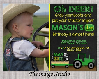 Tractor Birthday invite with or without Photo Invitation Chalkboard - Invite Card No photo option -  Personalized you Print
