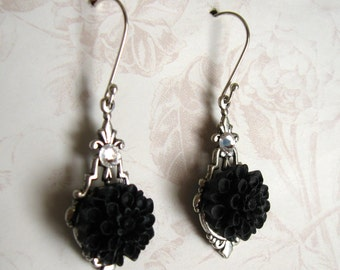 Black Flower Earrings, Sterling Silver, Flower Jewelry, Silver and Black, Swarovski Crystals, Gift for her, Gift under 15, sale