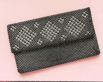 Vintage Clutch, 1980s Clutch Bag, Beaded Bag, Studded Bag, Eighties Clutch, Vintage Bag, Black Evening Bag