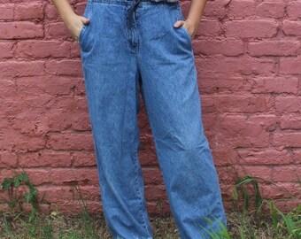 Vintage Wide Leg Jeans With Dip Bleach Dye