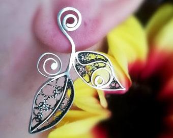 Leafy Fine Silver Filigree Earrings Forest Jewelry