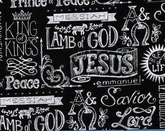 King of Kings Chalkboard Print on Black, 100% Cotton Fabric by the Yard, Quilt Fabric, Apparel Fabric, Home Decor Fabric, Crafts, Religious