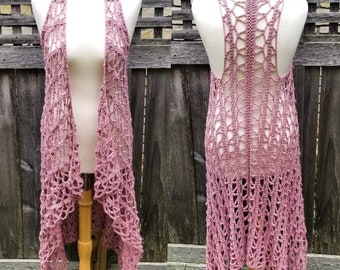 Swimsuit Cover Up | Women's Drape Vest | Cotton Crocheted Boho Vest | One Size | Made to Order | Multiple Color Options