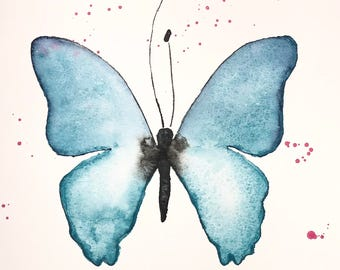 Original watercolor, blue butterfly,  9x12 made on watercolor paper 140 lbs.