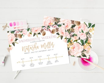 Bachelorette party Weekend Invitation Hens party Invitation Watercolor Floral Flowers Blush Roses Bridal Shower Invitation itinerary Card