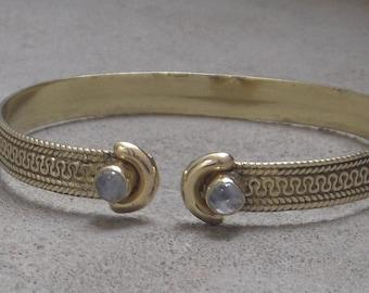 Brass Cuff Bracelet Rainbow Stone Adjustable Bracelet
