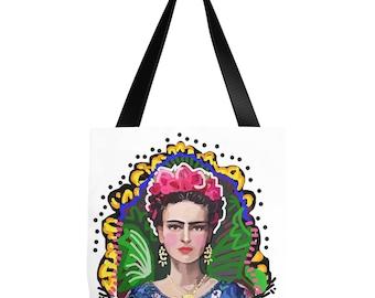Frida Tote Bag, Graphic Frida art bag, Frida carryall