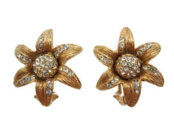 Rhinestone Flower Earrings - Vintage Costume Jewelry Omega Clip Backs Vintage Earrings for Women