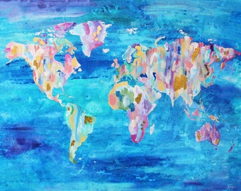 World Map Wall Art Print, Painted World Map, Colorful World Map, World Map Art, World Map Decor, 5x7 8x10 9x12 11x14 12x16 19x13, Modern Art