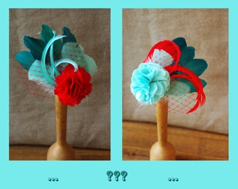 Rockabella headpiece red turquoise aqua fisties comes love fascinator bestseller available in many different colors  aqua coraille vintage
