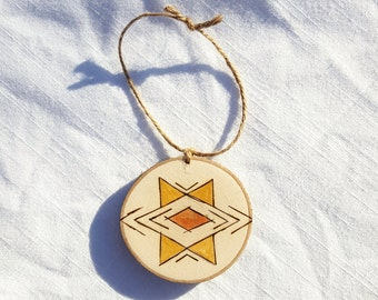 Large geometric wood slice ornament