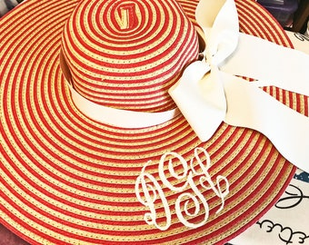Monogrammed Coral and Natural Stripe Floppy Hat Wide Brimmed for Wedding, Bridesmaid, Sun, Beach or Just Looking Fabulous