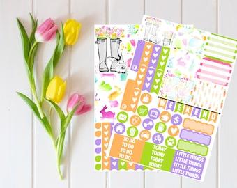 Watercolor Easter-Happy (MAMBI) Planner Sampler Kit (NF752) High Gloss, Semi-Gloss, Matte Planner Stickers