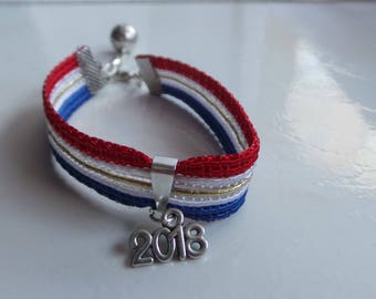 Tricolor bracelet france woman or child football cup 2018