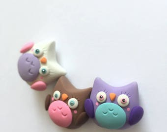 THREE-PACK Little Owlets | Little Lazies | 3 Miniature Polymer Clay Sculptures, Totems, Animals | Handmade | Thank You!