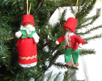 Scandnavian Christmas Elf, Tomte or Nisse (set of 2) - Traditional