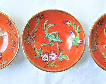 Vintage Set of Chinese Dishes, Orange with Grasshopper Pattern, 22 pieces