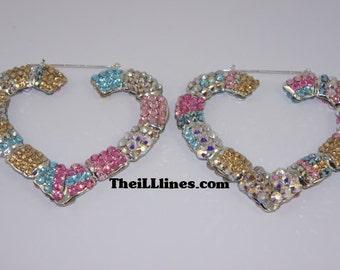 Custom Crystal Heart Bamboo Earrings made with Swarovski Elements