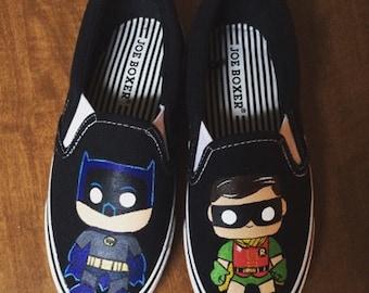 Batman/Robin Funko pop custom shoes