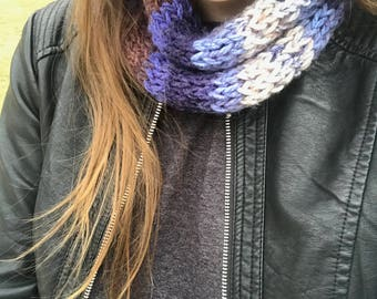 Blue/Brown/Cream Multi Color Fitted Knit Cowl