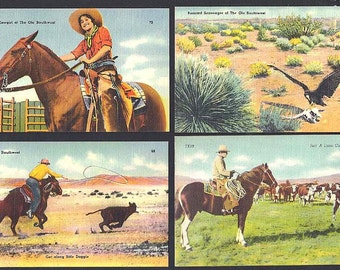 4 Western and Southwest Cowboy Linen Postcards NOS