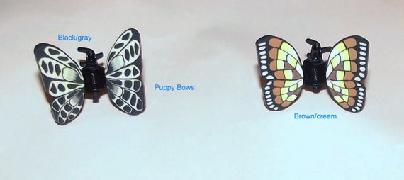 Puppy Bows ~4 colors Barrette small jaw clip BUTTERFLIES bow dog Shih Tzu BOY & GIRL ~Usa seller