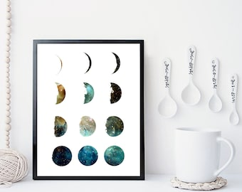 Galaxy moon phase print, wall art, art prints, moon art print, moon phases, home wall decor, modern print, posters, moon poster, gift