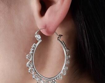 Silver Earrings - Silver Hoops - Gypsy Earrings - Tribal Earrings - Ethnic Earrings - Indian Earrings - Ttibal Hoops - Indian Hoops (ES104)