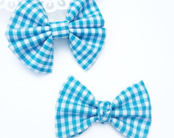 Fabric Bow, Baby Headband, Turquoise Gingham Bow, Spring Bow