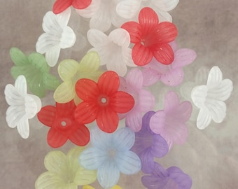20 assorted frosted lucite flowers, bead cap, 25x10mm, #1